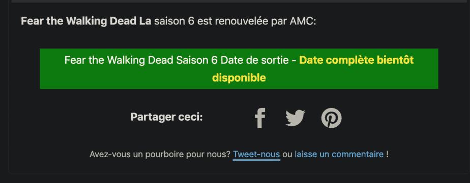 Fear the Walking Dead saison 6 Premiere Date sur AMC ? Est-il renouvelé ou annulé ? 2