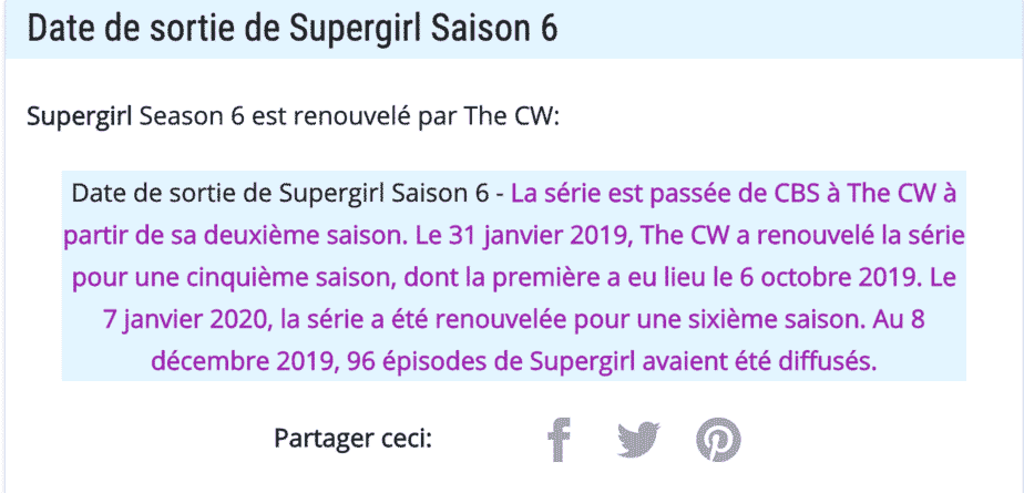 Date de sortie de Supergirl Saison 6