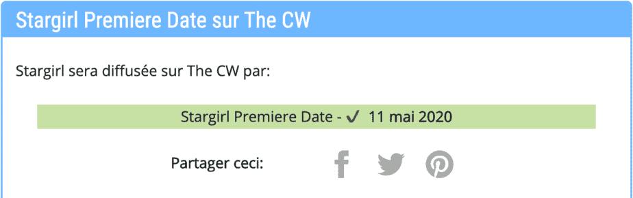 Date de première de la série Stargirl sur The CW; Ça commence quand? 2